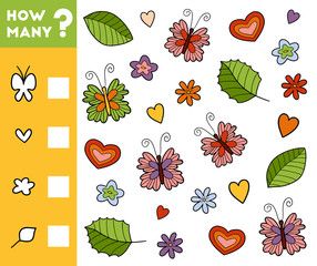 Counting Game for Preschool Children. Count how many objects of nature and write the result!