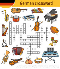 German crossword, education game for children about musical instruments