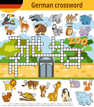 German crossword, education game for children about zoo animals