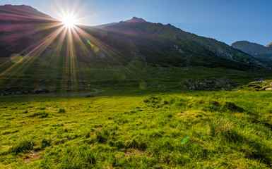 sunrise in valley of transfagarasan mountains