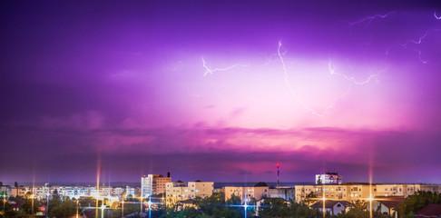 Lightning over city. Modern oil painting illustration art