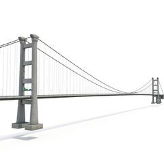 Printed roller blinds Bridge Tsing Ma Bridge on white. 3D illustration