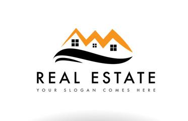 Orange black real estate house logo icon company