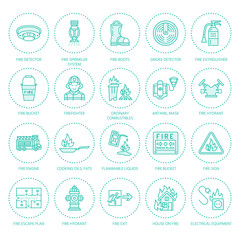 Firefighting, fire safety equipment flat line icons. Firefighter, fire engine extinguisher, smoke detector, house, danger signs, firehose. Flame protection colored thin linear pictogram.
