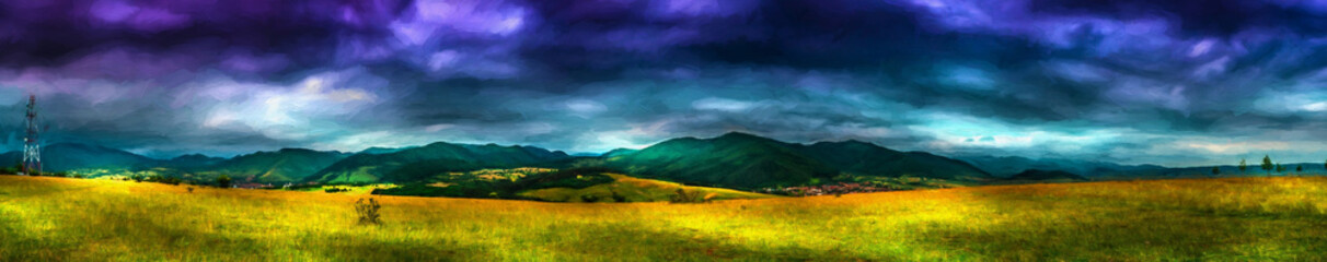 Storm clouds. Modern oil painting illustration art