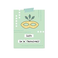 Carnival mask inspirational card