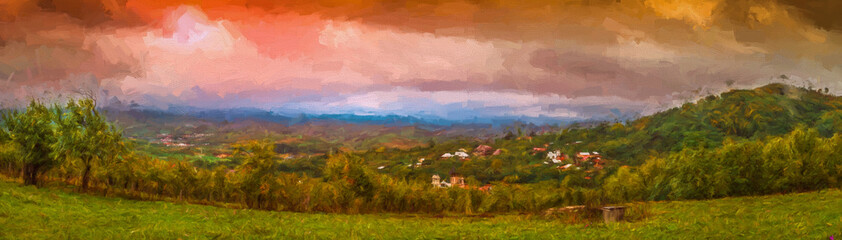 The village. Valea Plopului village, Prahova county, Romania. Modern oil painting illustration art