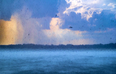 Thunder storm with havy rain and strong wind. Modern oil painting illustration art