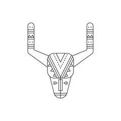 Buffalo skull line icon