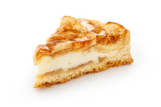 Slice of apple pie isolated on white