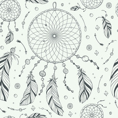 Seamless Pattern / Print With Hand Drawn Native Indian / American Dream Catcher. Boho Style Vector Illustration.