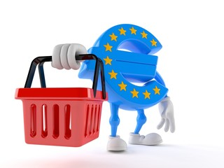 Euro currency character holding shopping basket