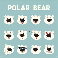 Emoticons set face of polar bear in cartoon style. Collection isolated funny muzzle polar bear with different emotion.