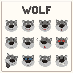 Emoticons set face of wolf in cartoon style. Collection isolated funny muzzle wolf with different emotion.