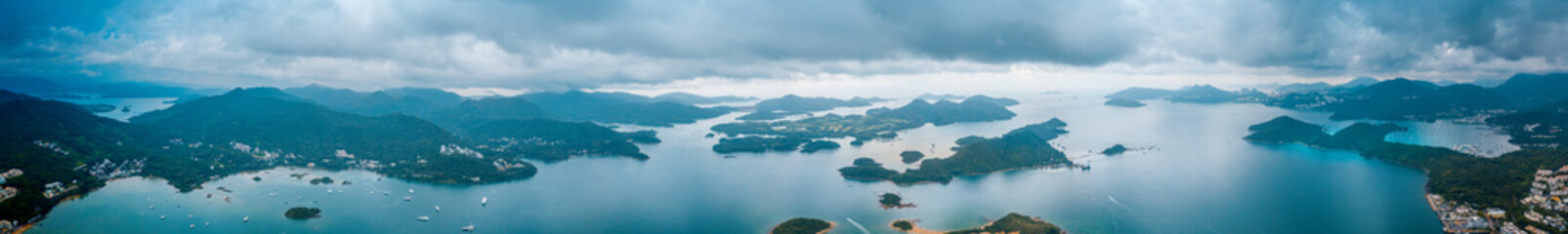 Panoramic aerial view of Sai Kung, Hong Kong.