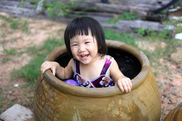 asian baby take a bath