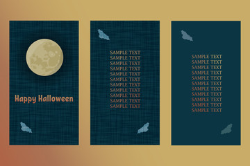Vector Greeting card for Halloween. Postcard with moon and bat.