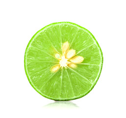 the fresh sliced lime with seed on white background