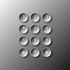 Simple black 3d number dial circle button paper for vector design illustration concept