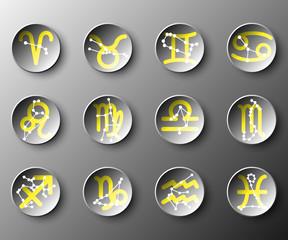 Simple black 3d circle paper of zodiac astrology sign for vector design illustration concept