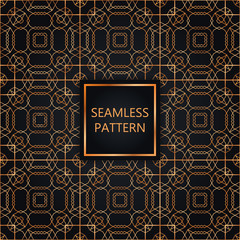 Golden seamless pattern on black background, islamic, oriental, eastern style.Template with luxury foil for packaging, fashion, greetings, cover, wedding. Vector illustration