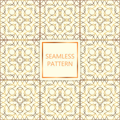 Golden seamless pattern on white background, islamic, oriental, eastern style.Template with mettalic decoration for lattice, packaging, fashion, textile. Vector illustration