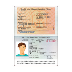 Open Philippines international passport visa sticker template in flat style. Vector EPS10.