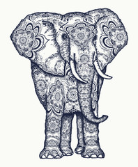 Elephant tattoo. Decorative colorful elephant sacral ornament. Symbol of meditation, love, freedom, spiritual search. Boho elephant tattoo and t-shirt design
