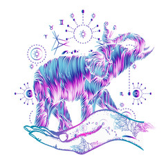 Elephant in hands tattoo art. Elephant sacral style color t-shirt design. Symbol of meditation, tourism, hipster, magic. Elephant line art tattoo
