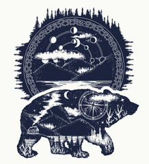 Bear tattoo and t-shirt design