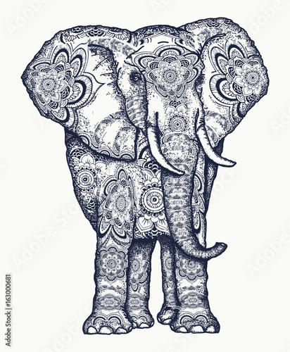 Elephant Tattoo Decorative Colorful Elephant Sacral Ornament