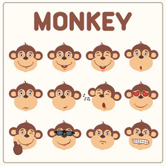 Emoticons set face of monkey in cartoon style. Collection isolated funny muzzle monkey with different emotion.