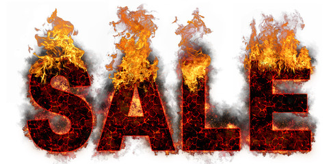 Retail SALE artwork with a realistic fire effect against a white background. Great for signs posters web marketing and more. Hot sales billboard banner with glowing text in flames.