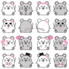 Lovely cute couple cartoon mouse collection set with variety charactor isolate vector icon