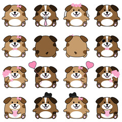 Lovely cute couple cartoon dog collection set with variety charactor isolate vector icon
