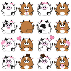 Lovely cute couple cartoon cow collection set with variety charactor isolate vector icon