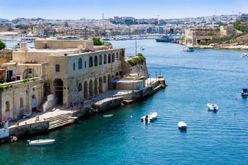 Traditional boats at Valletta Harbor in Malta