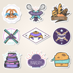 Bakery Stickers Set Vintage Style