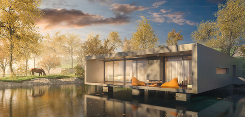 3d Rendering of a Modern House over Lake