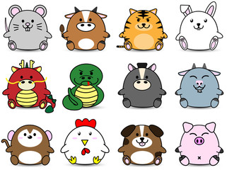 Cute Fatty cartoon of chinese zoidac horoscope animal sign collection set