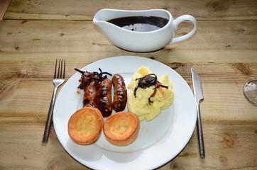 British pub food, sausage and mash