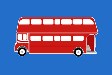 Red London bus. Isolated. White background.