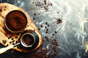 Coffee in coffee maker, top view
