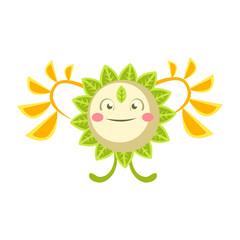 Cute fantastic flower character, nature element colorfil cartoon vector Illustration