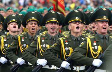 Belarussian servicemen take part in a military parade on the Independence Day in Minsk