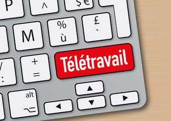 télétravail - travail - entreprise - mot - emploi - flexibilité - clavier d'ordinateur