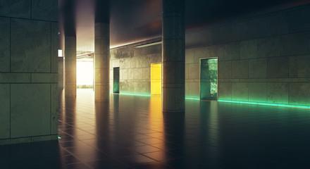 Dark corridor wiith sunlight