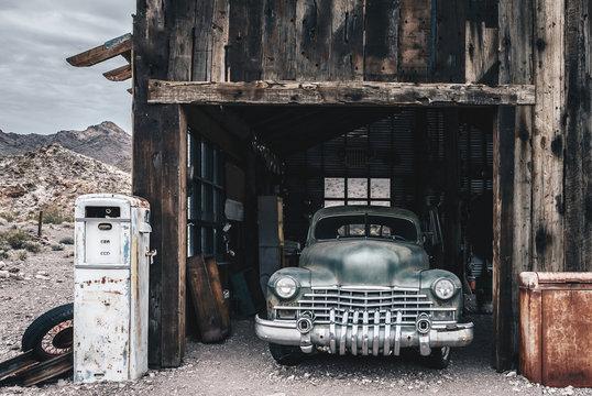 Old vintage car truck abandoned in the desert