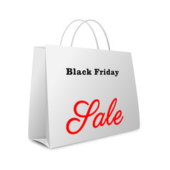 Shopping bag with black friday sale text