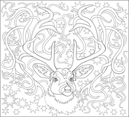 Black and white page for coloring. Fantasy drawing of deer. Worksheet for children and adults. Vector image.